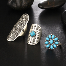 Bohemian Ring Set 9Pcs Turquoise Vintage Steampunk