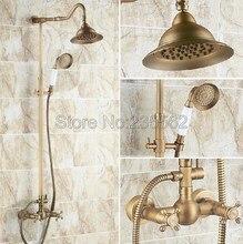 Retro Bathroom Rainfall Shower Head Faucet Set Wall Mounted Antique Brass Finish Dual Cross Handle Mixer Tap +Hand Spray lrs134