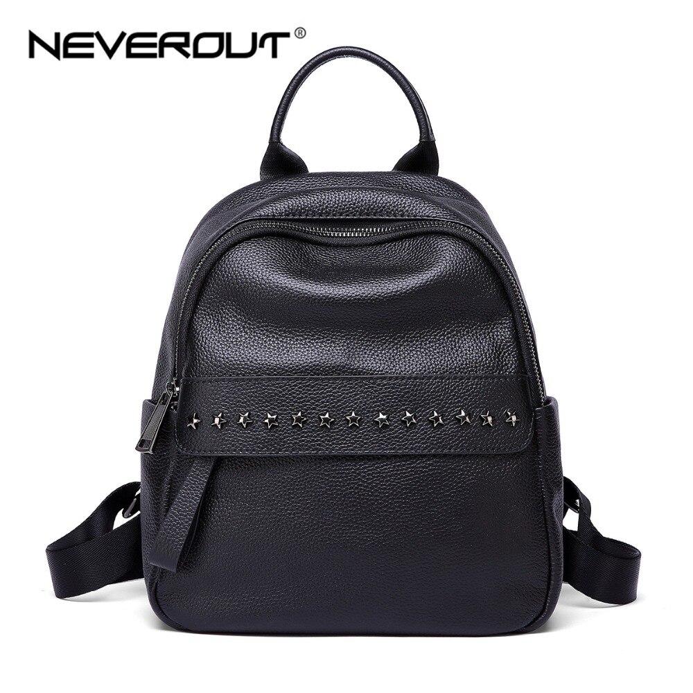 1ea602cc2c NEVEROUT Zipper Women Backpack Ladies Genuine Leather Backpacks Small Black Shoulder  Bag High Quality Girls Travel