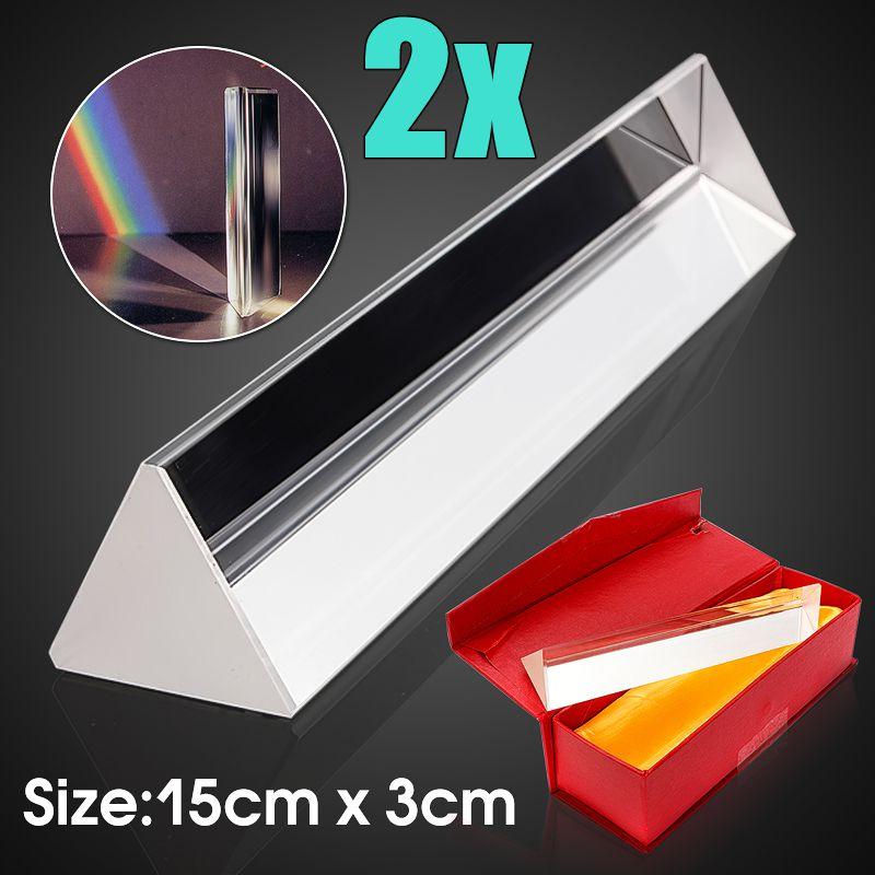 2Pcs 6 15cm Gift Triple Triangular Prism Physics Teaching Light Spectrum Rainbow Optical Glass with Box