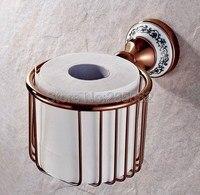 Or Rose Couleur En Laiton Base En Porcelaine Salle De Bains Accessoires Papier Toilette Porte-Rouleau Panier Mur Monté lba389