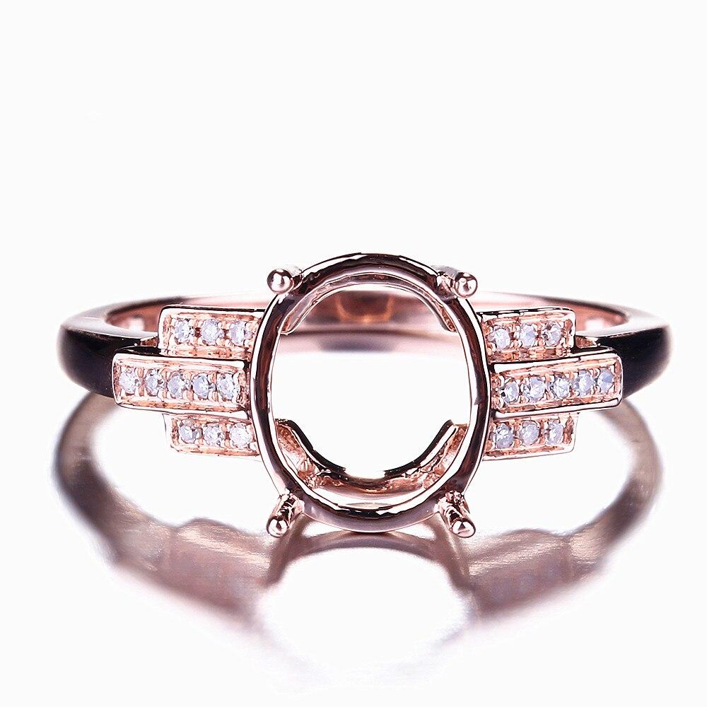 HELON Design spécial taille ovale 10x8mm solide 10K or Rose Pave diamant naturel bijoux fins fiançailles mariage Semi anneau de montage