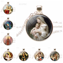 Virgin Mary and Baby Jesus Christian Catholicism Jewelry Silver Necklace Blessed Mother Religious Art Glass Dome Pendant Gift