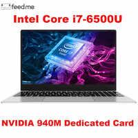 Juegos de ordenador portátil para 15,6 pulgadas de cuerpo metálico Intel i7 6500U 16GB de RAM 2G tarjeta de vídeo dedicada Windows 10 portátil para el trabajo de la Oficina del juego