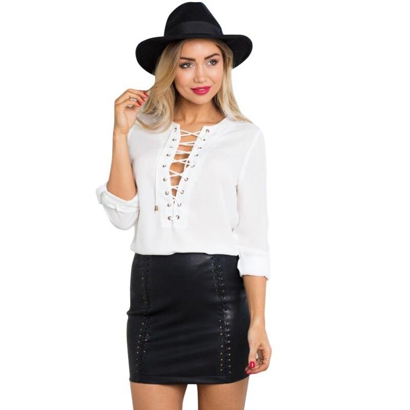 2016 Sexy Lace Up OL Chiffon Blouse Shirt Long Sleeve ...