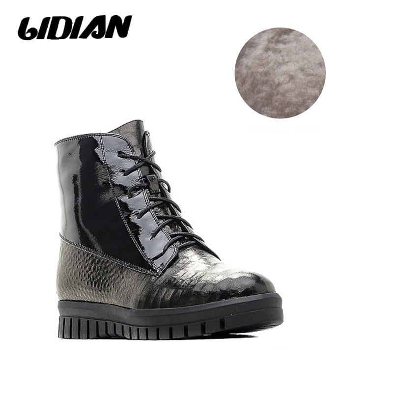 Véritable Laine Plate Courte Wool En Bottes De Noir Chaud Hiver 36 Russe  Black Fourrure B21 Automne forme Lidian Cuir 41 Taille Peluche Talons ... b737b7c60016