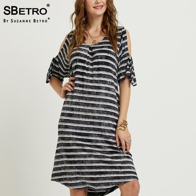 939f9be4849c1 SBetro Tie Dye Dress Striped Cold Shoulder Tie Detail Scoopneck Shirttail  Hem Knee Length Casual Women Dresses