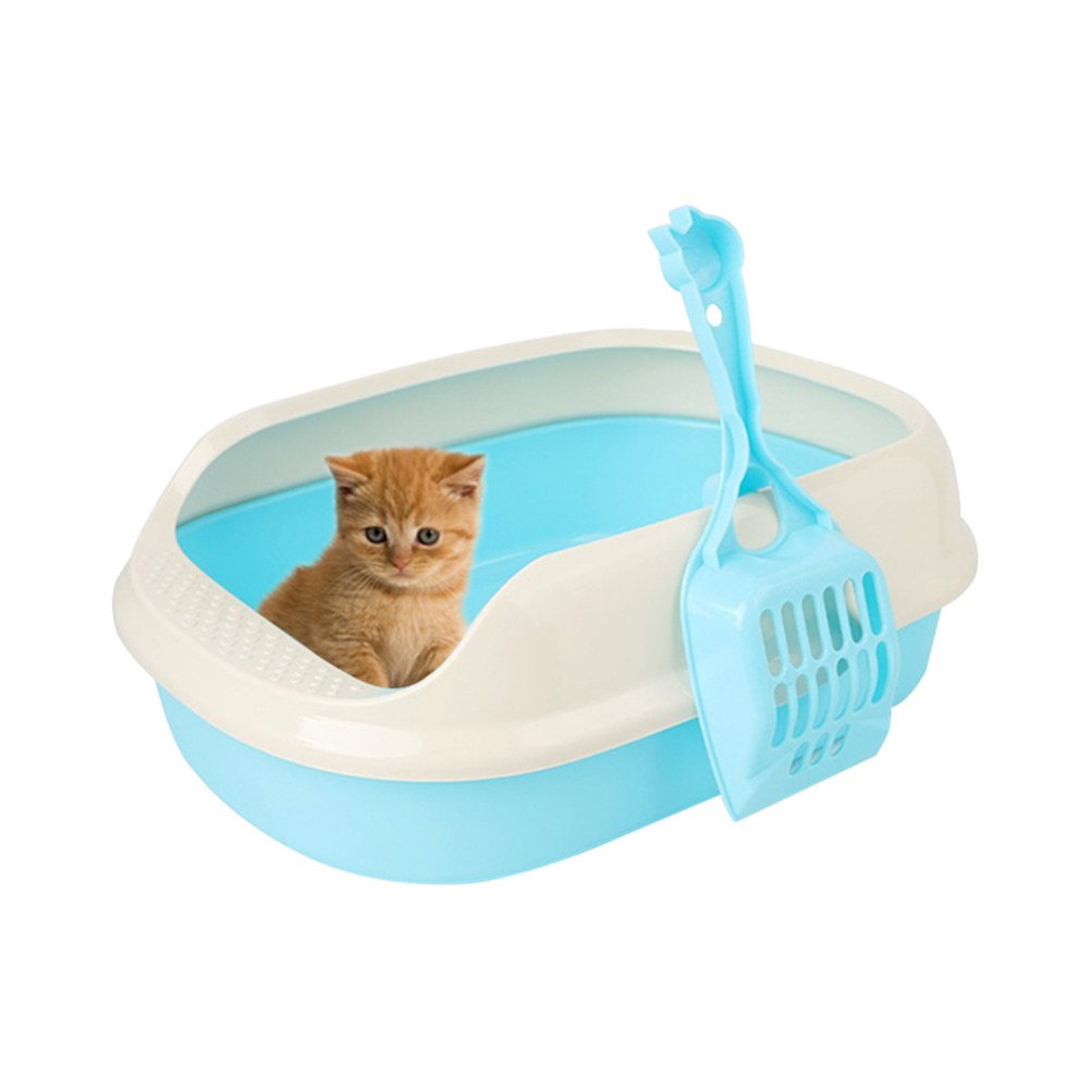 New Crack-proof Cat Toilet Prevent Sand Throwing Wc Cat Toilet Plastic Cats Litter Box With Shovelsafe And Nontoxic Random
