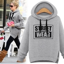 Plus Size S-2XL New Autumn Winter Cotton Casual Hooded Velvet Wide Songane  Fleece weatshirts Hedging White Gray Black As1444