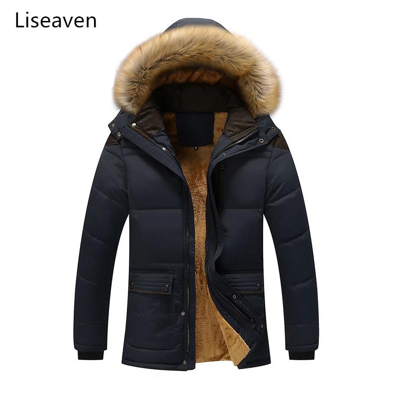 Liseaven Men   Parkas   Plus Size 5XL Men's Winter Jacket Hat Detachable Warm Coat Mens Coats Jackets Hooded Collar Male Clothing