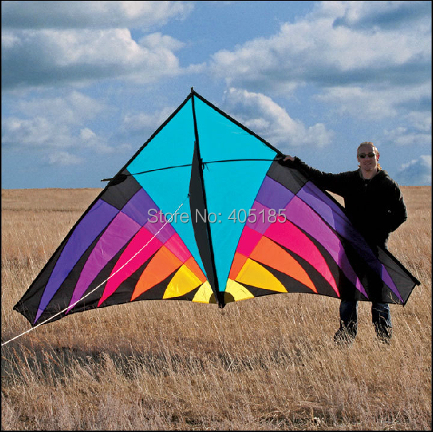 Free Shipping Outdoor Fun Sports 3 6m Nylon Multicolor Power Triangle Kite Good Flying