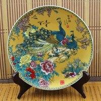 La antigua Dinastía Ming antiguo porcelana antigua placa de porcelana de Jingdezhen adornos rico pavo real figura