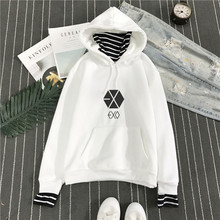 kpop exo harajuku Striped collar loose fake two plus velvet hooded pullover hoodie female Korean student k-pop Autumn Winter