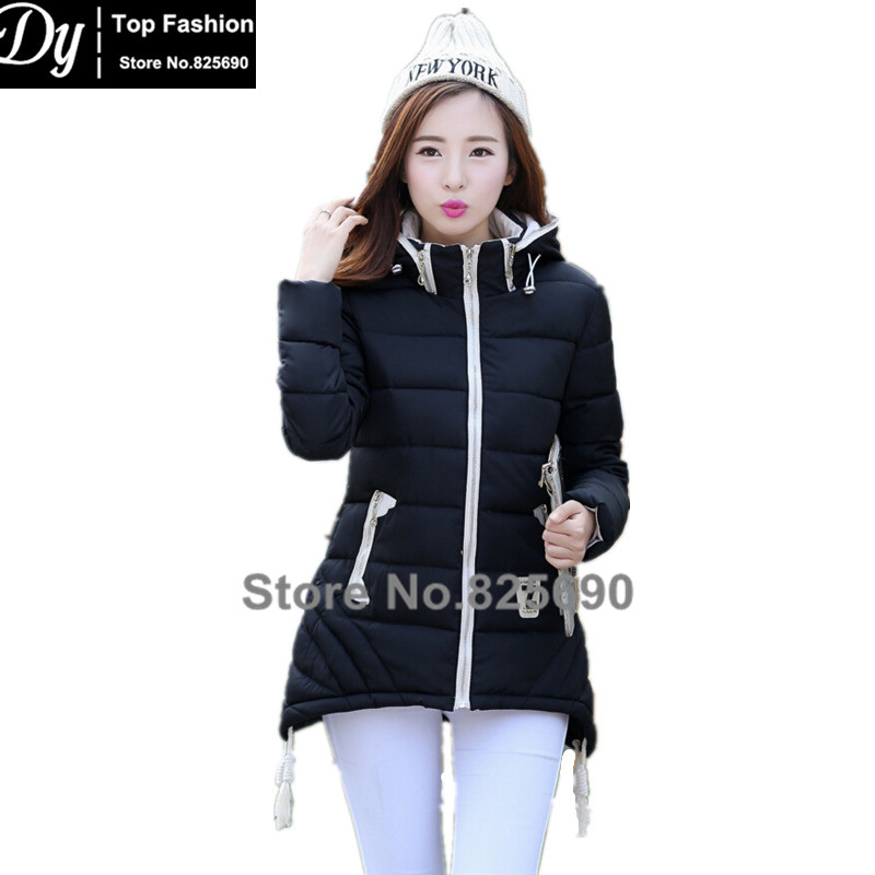 ФОТО New Cotton Padded Winter Jackets For Women Fashion Casaco Parka Plus Size Women's Winter Jackets Slim Coats Hooded Female Jacket