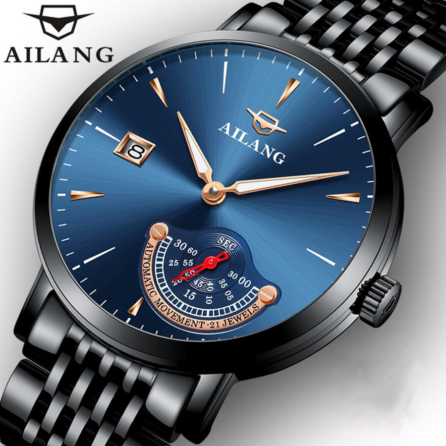 AILANG 2018 Unique Designer Mechanical Waterproof Mens Watches Top Brand Luxury Sapphire Fashion Casual Automatic Watch 2016 hot sale top brand ailang luxury men watches casual fashion waterproof stainless steel wristwatches mechanical watch