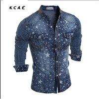 New denim Homens da camisa do desgaste de algodão lavado camisa de brim dos homens casuais longo-sleeved camisas de algodão M-XXL