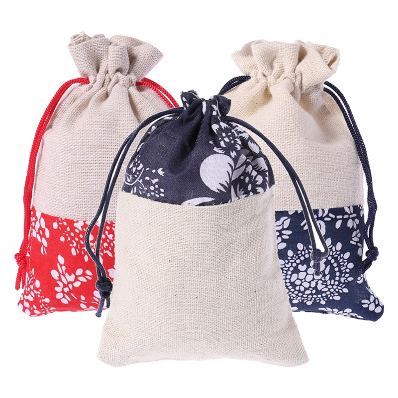 Cotton Linen Pouch Drawstring Jewelry Wedding Favors Gift Bag Storage Handmade Drawstring Bag Pouch candy cane patterned drawstring gift bag storage backpack