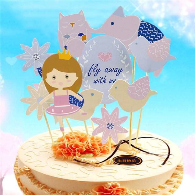 Party Cake Topper Colorful Girl Bird Elephant Unicorn Horse Clouds