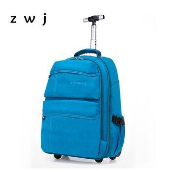 Azul marinho Escola mochila homens e mulheres de mão mala de viagem da bagagem do trole mochila