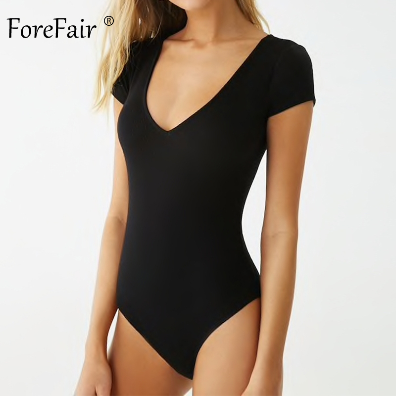 Forefair V Neck Ribbed Neon Bodysuit <font><b>Women</b></font> Rompers <font><b>Green</b></font> White Black Summer <font><b>Sexy</b></font> Bodycon Short Sleeve Knitted Female Body Top image