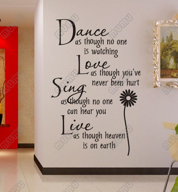 Dance As Though No One Is Watching Vinyl Wall Lettering Stickers Quotes And  Sayings Home Art ... Part 67