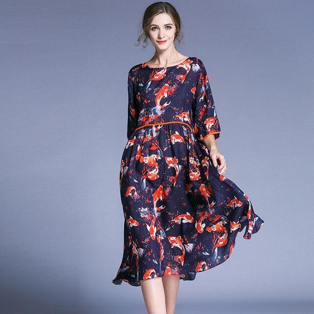 Aliexpress Buy Women Plus Size Dresses Fashion Ramie Print