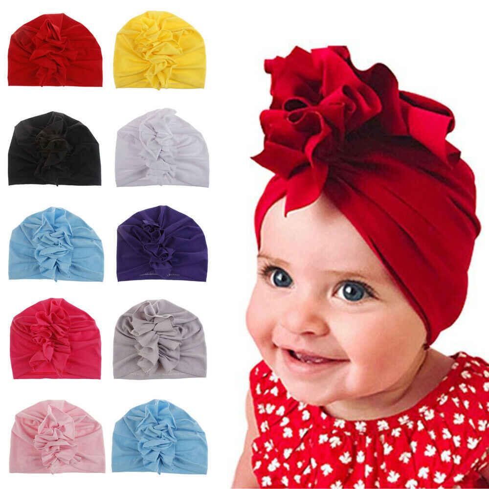 2019, accesorios de verano para niños, Moda para recién nacidos, niños, bebés, bebés, niñas, turbante, gorro de algodón, gorro de Color caramelo con volantes sólidos