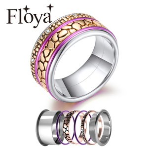 Image 1 - Floya Leopard Stackable Ring for Women Rotatable Stainless Steel Band Malti The Arctic Symphony Rings Set Collection Jewelry