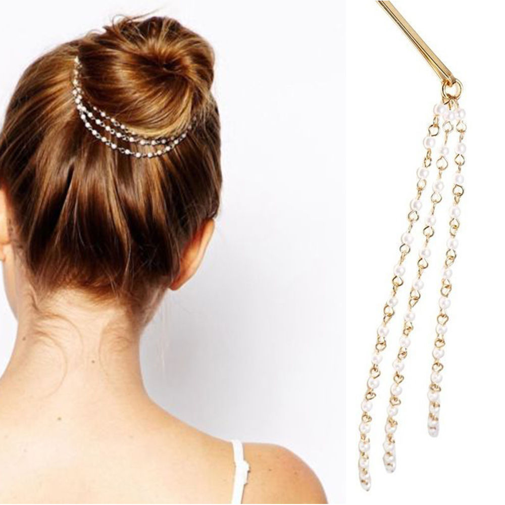 Fancy Simple Women Tassels Pearl Chain Hair Clip Hair ...