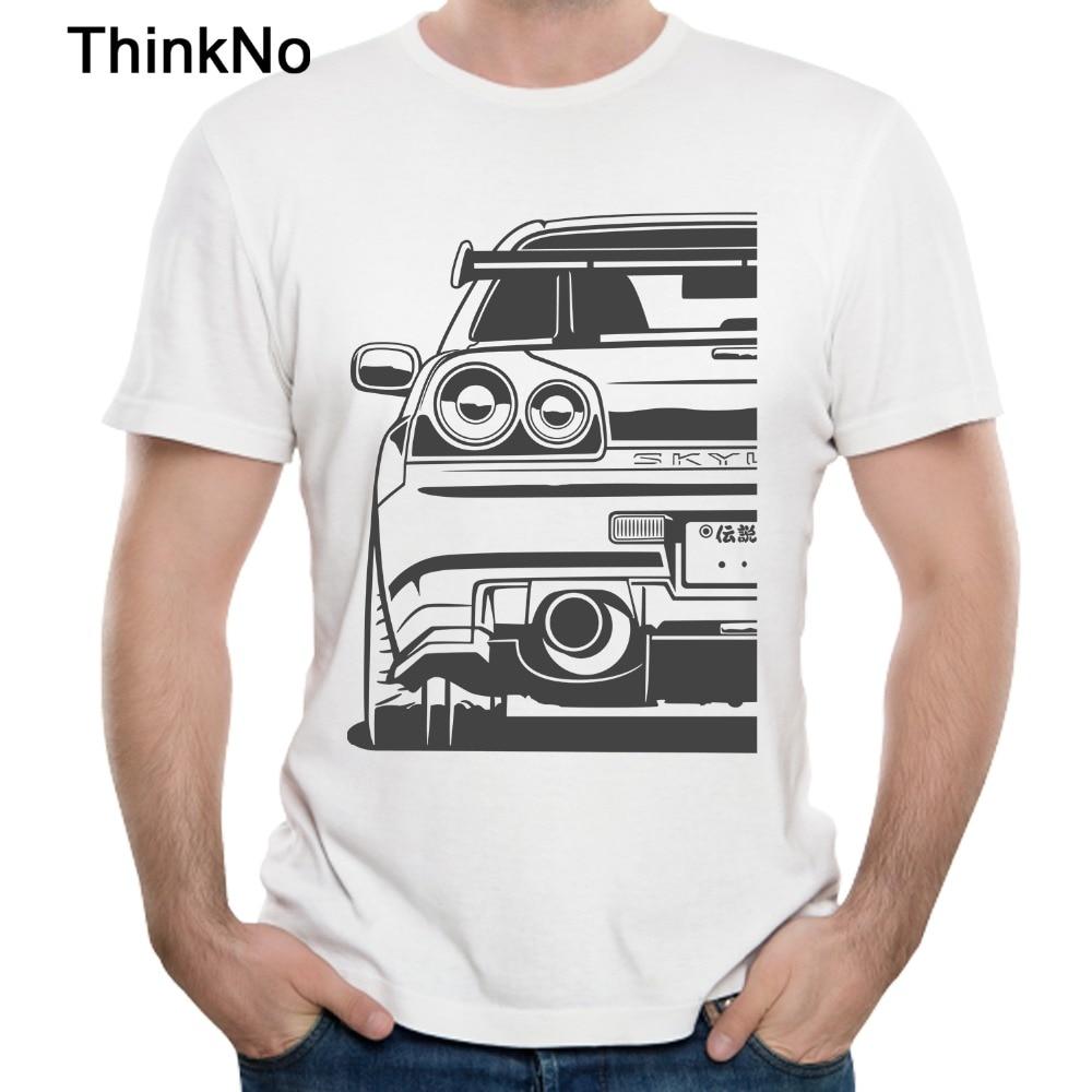 גברים סקייליין R34 GTR T חולצה 2018 חדש רכב חולצה למעלה עיצוב חדש הגעה מזדמן אופנה מגניב Tees