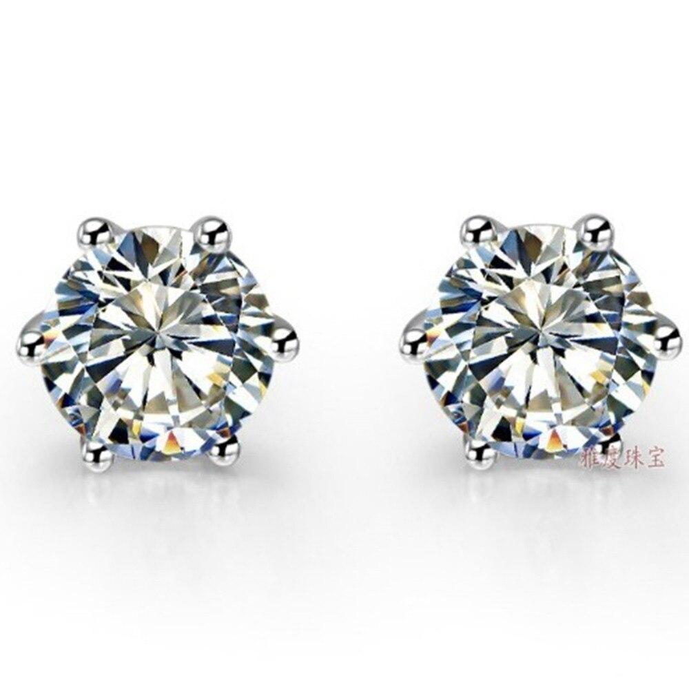 2CT Piece Classic 6 Prongs Earrings Gold Lovely Diamond Stud Earrings For Women Sterling Silver Jewelry
