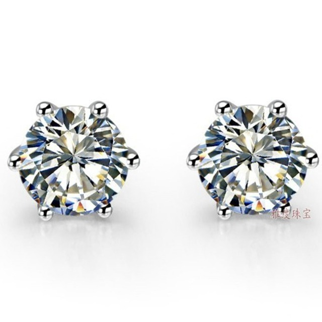 2CT Piece Classic 6 Prongs Earrings Gold Lovely Diamond Stud