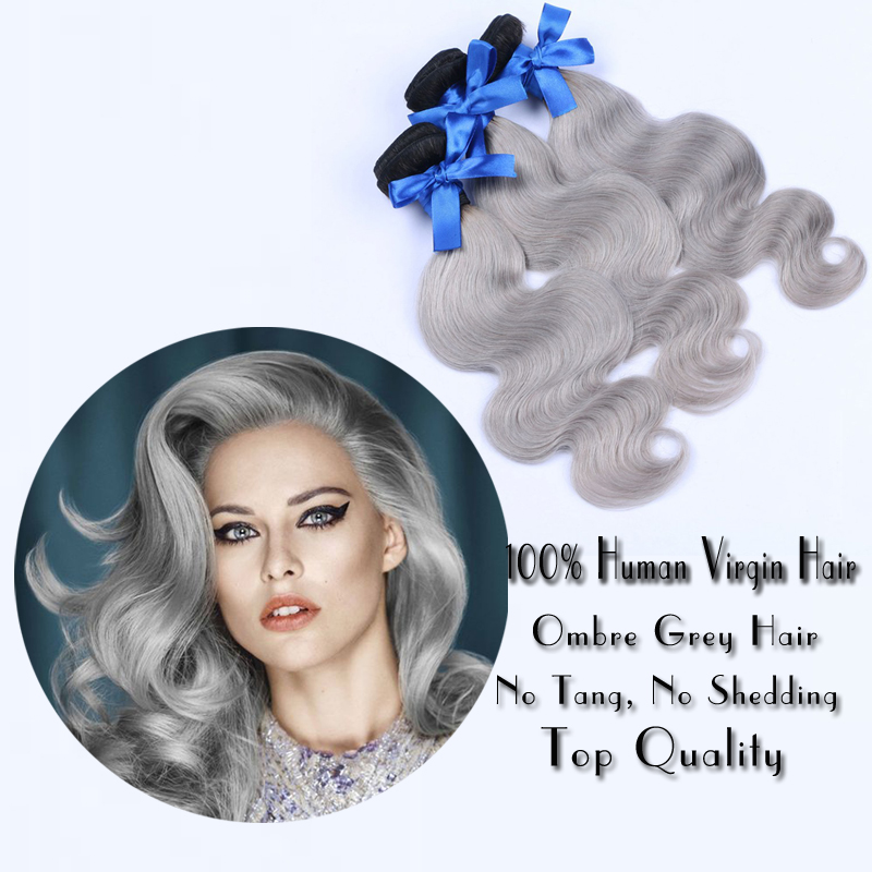 Brazilian Body Wave Grey Hair Weave 3pcs Dark Roots Silver Grey Ombre Virgin Hair Extensions  1b/Grey Brazilian Human Hair