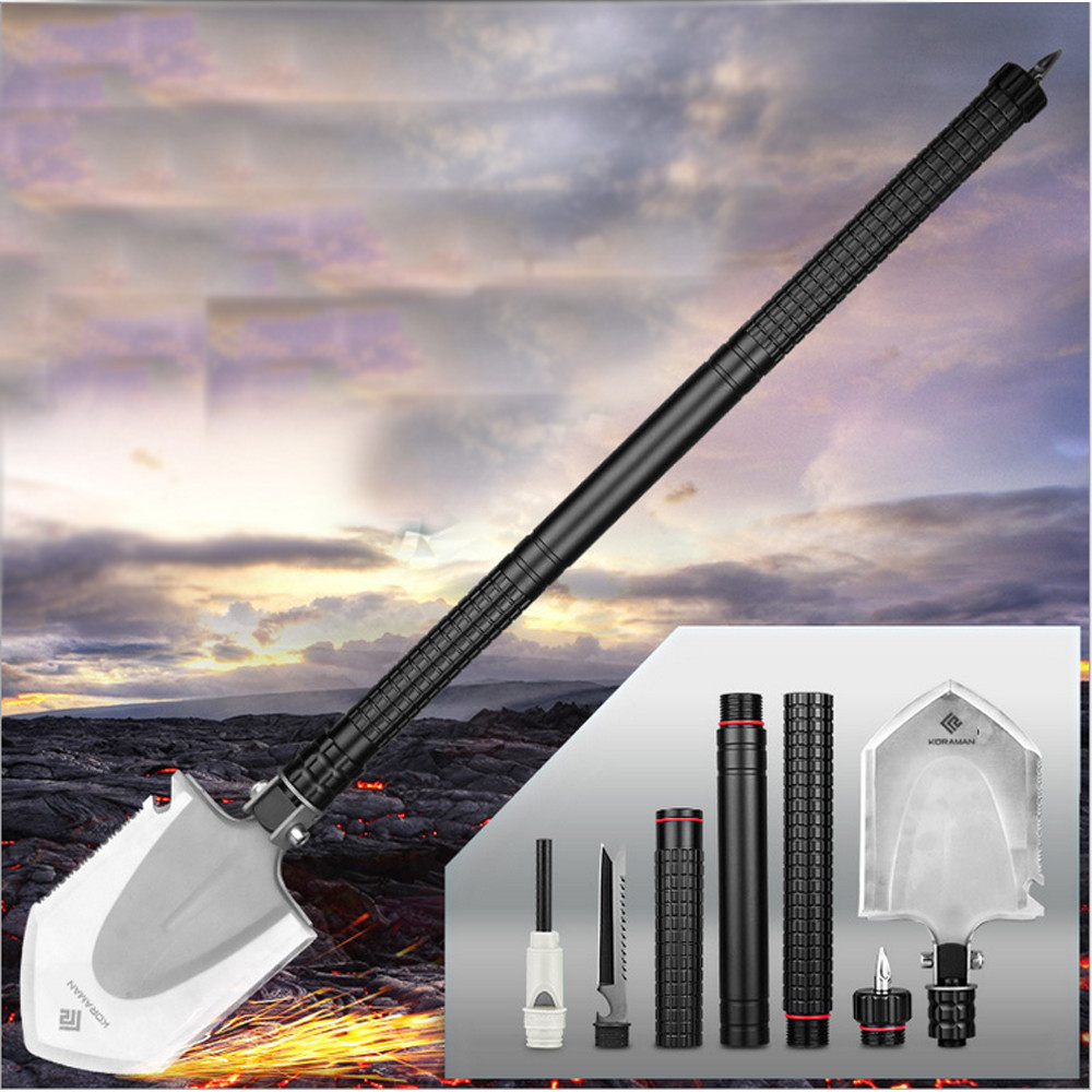 New Folding Spade Outdoor Camp Multi-Function Outdoor Sports Shovel Military grade durable Steel ultra lightweight length: 78cm spring steel with iron handle shovel digging spade flower blooms farm garden tools flower shovel shovel digging up tree