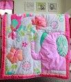 Flower World 7 Pcs Cartoon Baby Bedding Set Baby Cradle Crib Cot Bedding Set Cunas Crib Quilt Sheet Bumper Bed Skirt Included