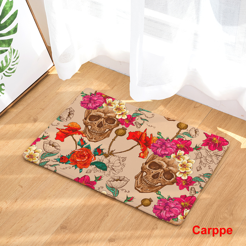 New Sale Welcome Floor Mats Skull Flower Printed Bathroom Kitchen Carpet House Doormats Living Room Anti