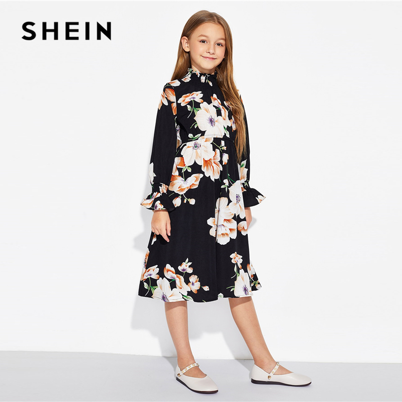 89daa6164466 SHEIN Girls Black Floral Print Stand Collar Elegant Dress Kids Clothing  2019 Spring Korean Long Sleeve A Line Casual Dresses-in Dresses from Mother  & Kids ...