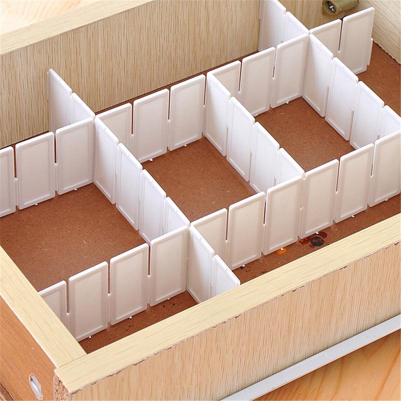 Jx Lclyl 6pcs Plastic Diy Grid Clapboard Divider Drawer Closet Storage Organizer White