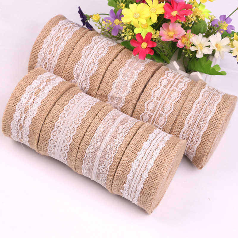 "2 M x HESSIAN JUTE Tape LACE RUSTIC WEDDING VINTAGE TAPE 7mm 2//8/"" wide"