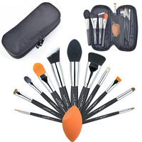 JAF Professional 12 PCS Makeup Brushes Tool Set Unique Functions Cosmetic Complexion Sponge Puff With Black