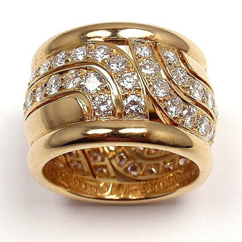 Unique Style Crystal Gold Wide Big Party Finger Ring Luxury Wedding Band Men Women Large Size Rings Huge Anel Jewelry Z3M088