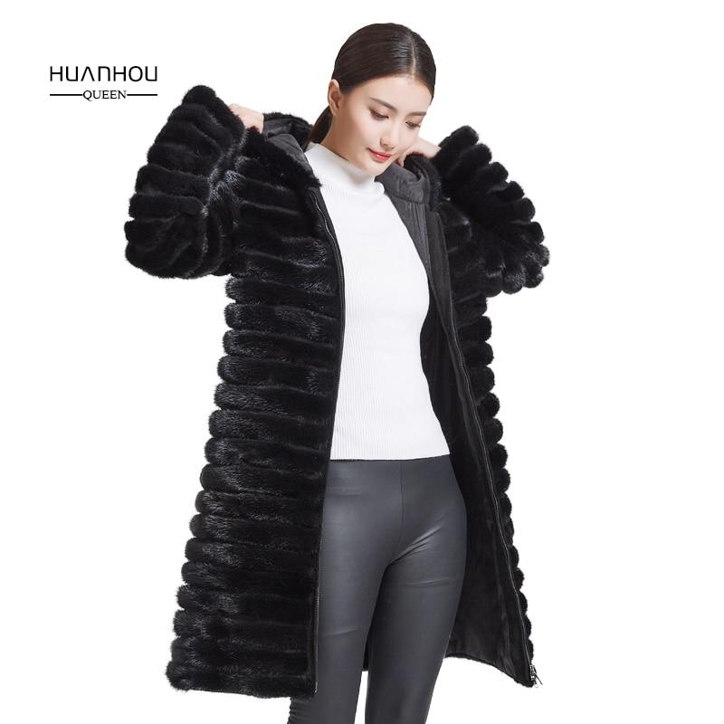 Huanhou reine 2018 fourrure de vison real manteau pour femmes avec capuche, extra large, plus la taille hiver chaud slim manteau.