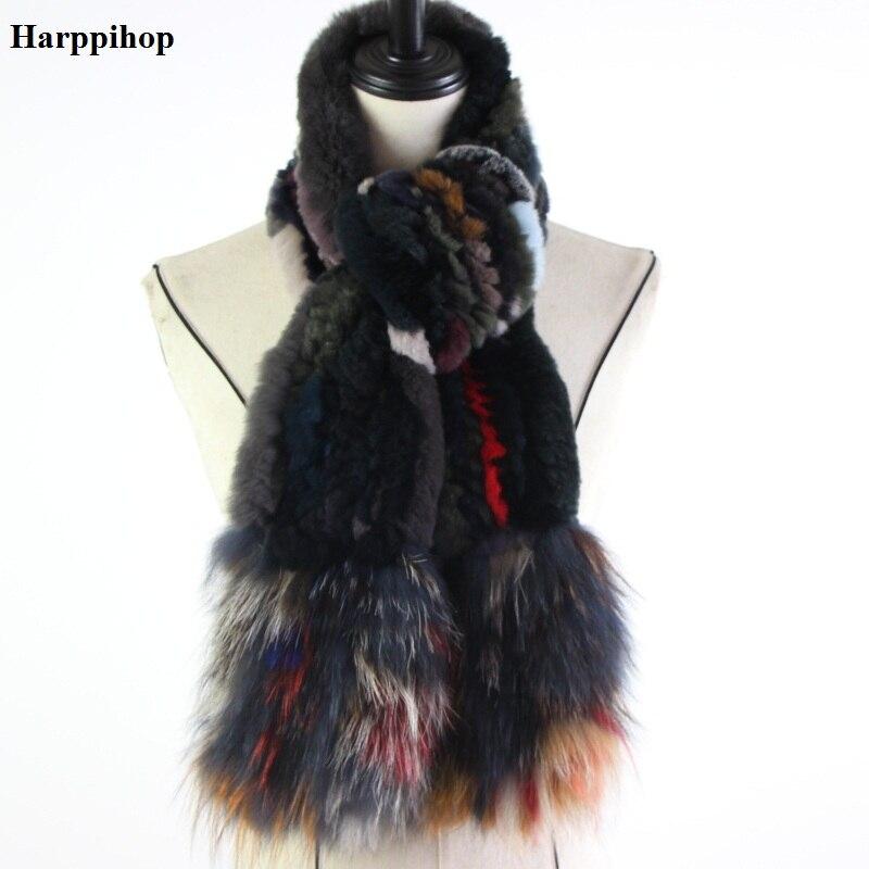 Бренд реального меха кролика рекса шарф воротник вязать бесконечного шарфы Для женщин Тип меховой шарф Для женщин с натуральным кроличьим ...