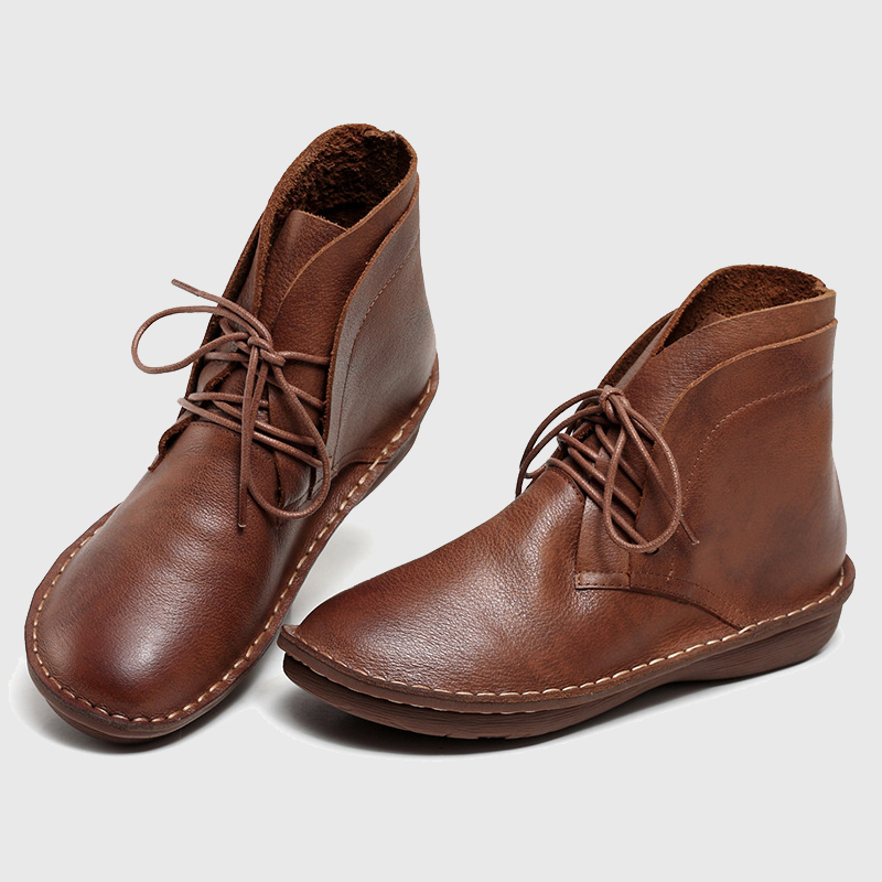 35-42 2017 Winter Ankle Boots Hand-made Genuine Leather Woman, High Quality Mori Girl Lace Up Womens Boot Shoes Big Size ...