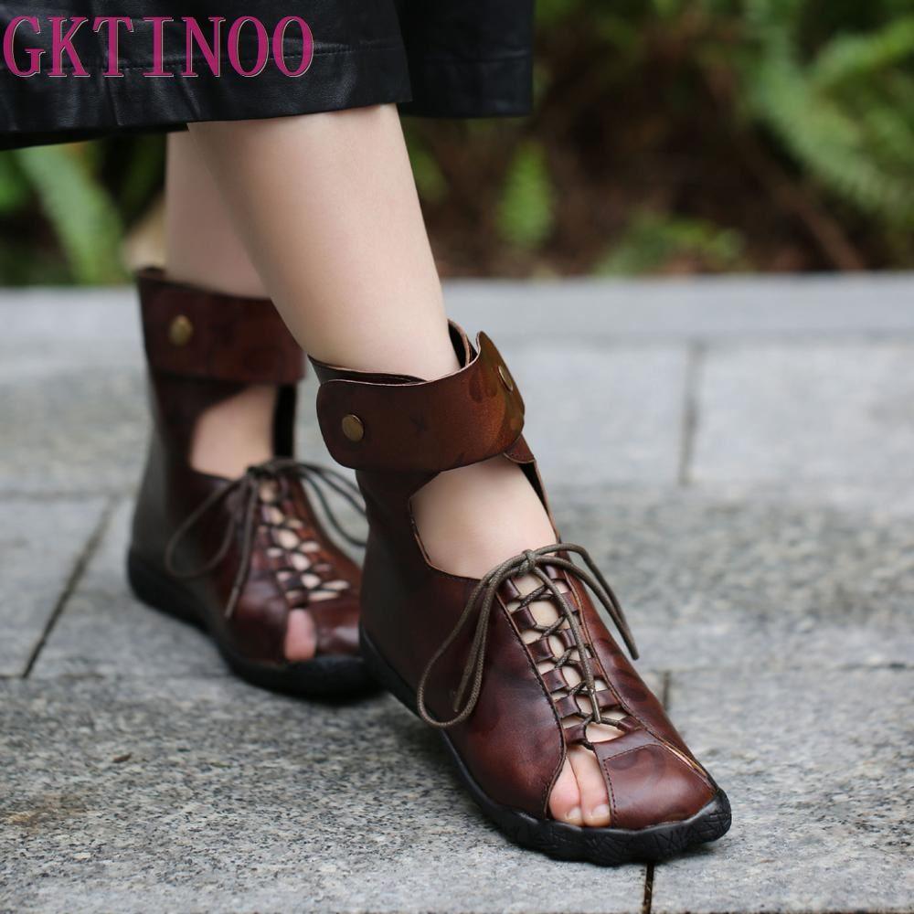 GKTINOO Original Couro Tamanho Grande Artesanal Sandálias Das Mulheres Sapatos de Couro Genuíno Estilo Retro Roma Escavar Botas de Verão