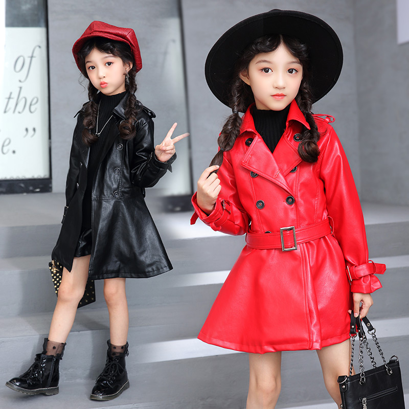 Leather Jackets For Girls Trench Coat Autumn 2018 Children Long Coat Kids Cotton Outerwear Girl Clothing Fashion Outwear 9 10 12 2018 autumn girls long trench outerwear coats children s hooded embroidery letter long trench coat kids casual long sleeve coat