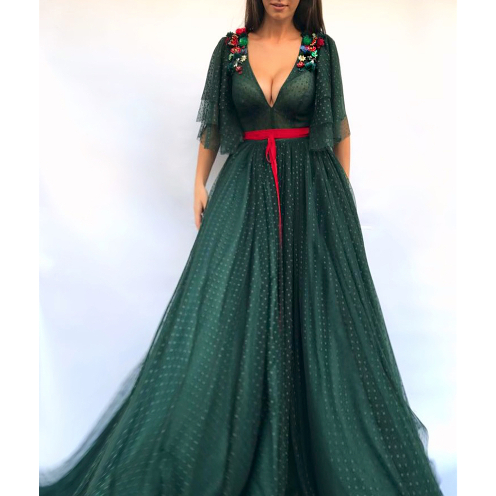 e987fe7583f Dark Green Long Evening Dress Half Sleeve A Line Deep V Neck Charming Prom  Gowns 2019 New Arabic Women Party Dresses Cheap