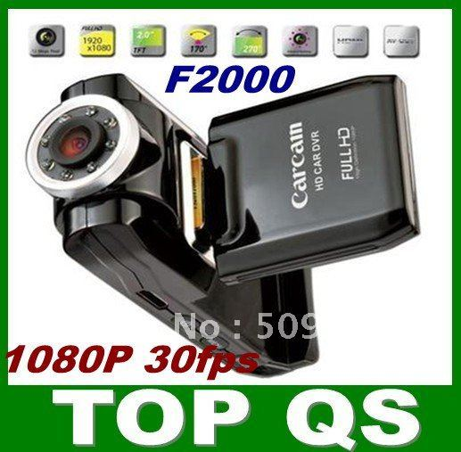 Newest coming Full hd 1080P, 2.0 screen,h.264 car dvr  camera black box, Ambarella,F2000, Free shippping