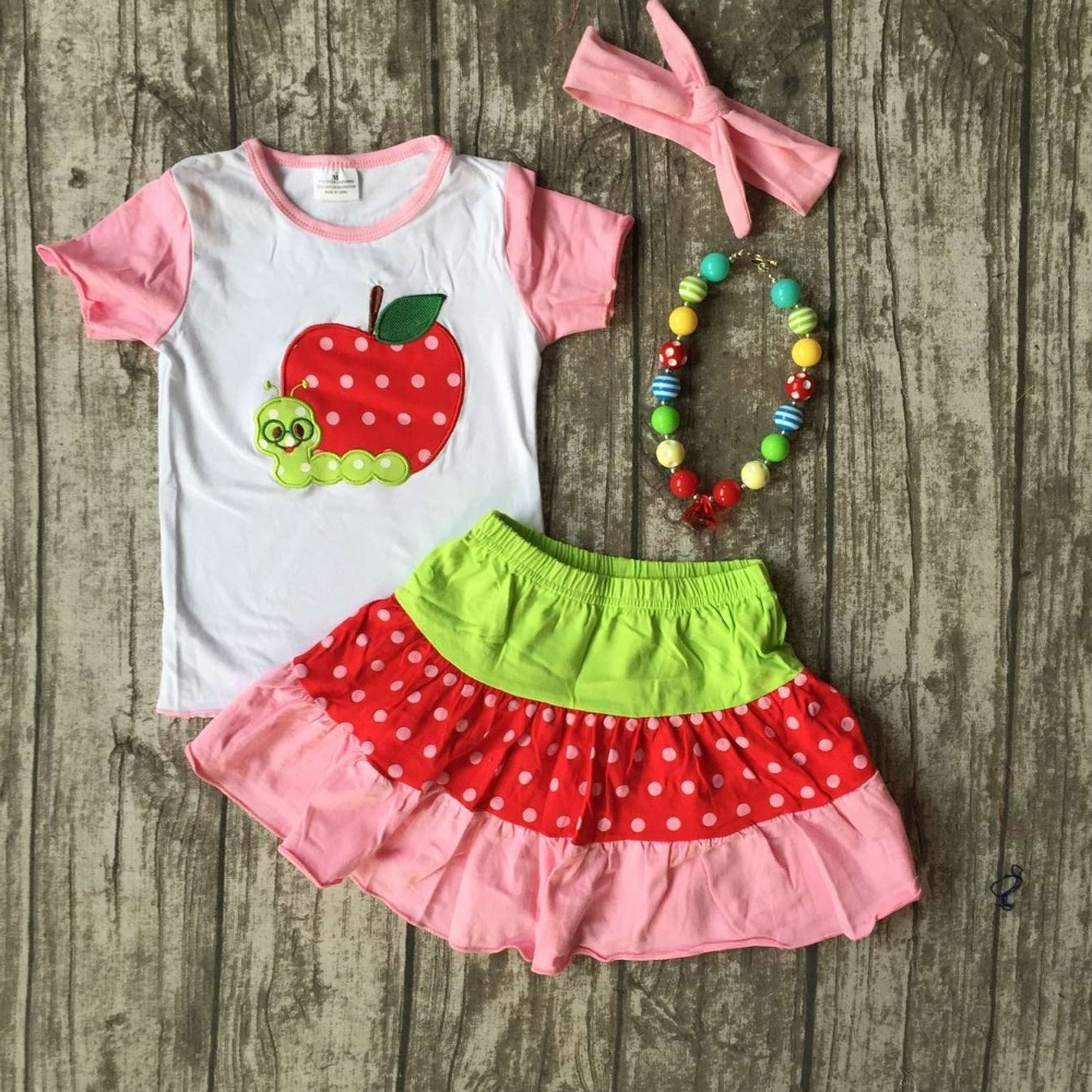 baby girls back to school clothes children apple top with skirts baby girls summer boutique clothing with matching accessories baby girls football season outfit girls tutus football touch downs clothing children top with football skirts with accessories