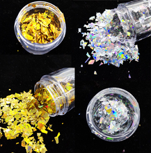 1Box 10ml Irregular Glitter Nail Flakes Sequins Golden Silver Paper Colorful Paillette DIY Art Tips Decoration